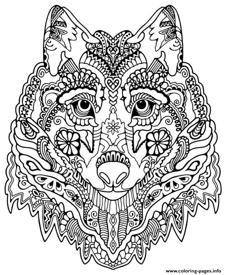 Wolf Face Coloring Page For Adults