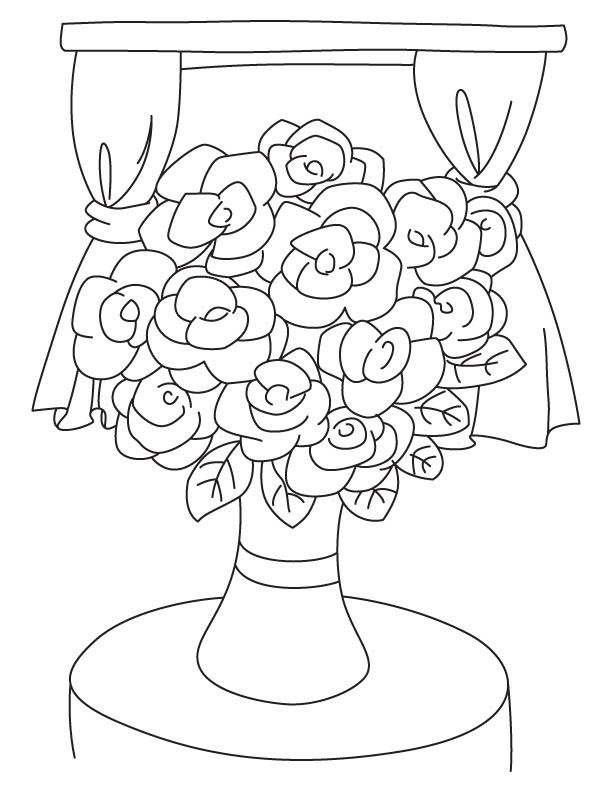Colouring Pages Vase Flower : Vase And Flowers Coloring Page Coloring Home
