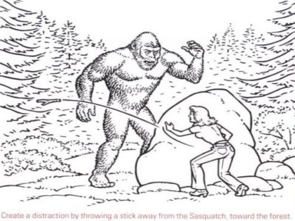 Bigfoot creature coloring pages bigfoot sasquatch for Printable bigfoot coloring pages