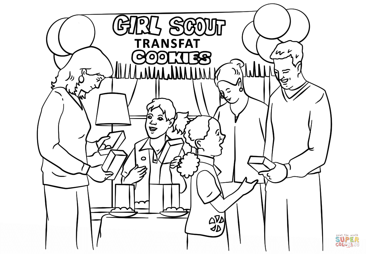 Free coloring pages for girl scouts - Brownie Girl Scouts Selling Cookies Coloring Page Free Printable