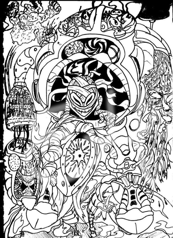 Trippy Alice In Wonderland Coloring Pages - Coloring Home
