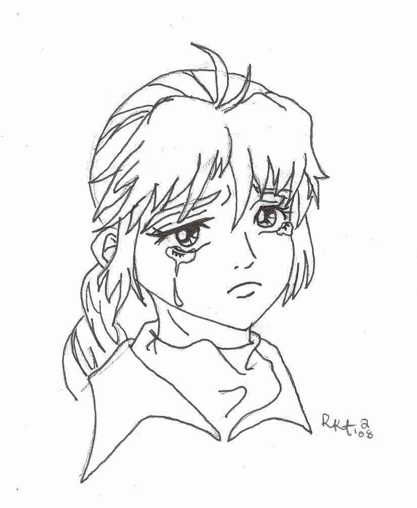 crybaby coloring book pages - 8 pics of sad anime girls coloring pages anime girl line