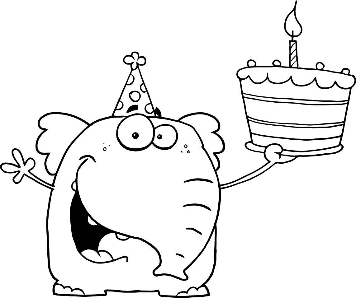Cartoons Happy Birthday Cake Coloring Page Coloring Pages For