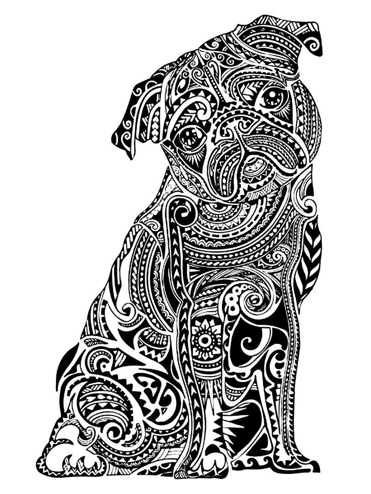 Printable Of Pugs - Coloring Pages for Kids and for Adults