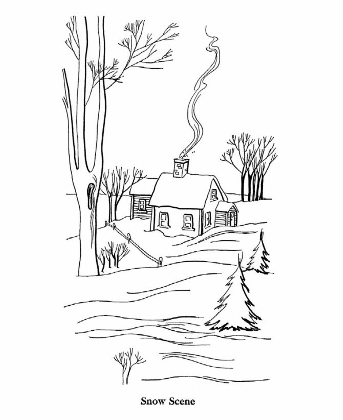 Scene Of Winter Coloring Pages Printable | Winter Coloring pages ...