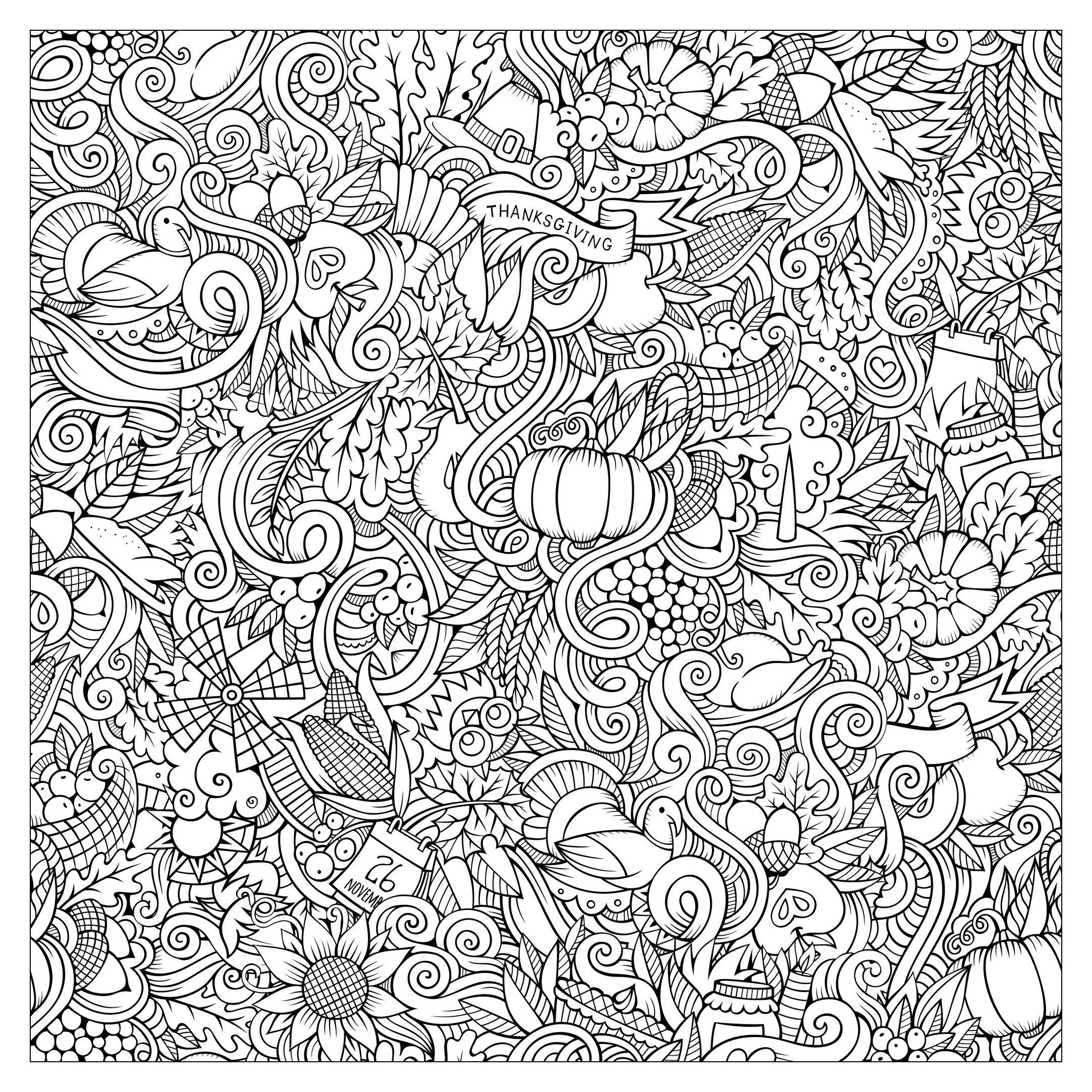 Thanksgiving Coloring Page For Adults