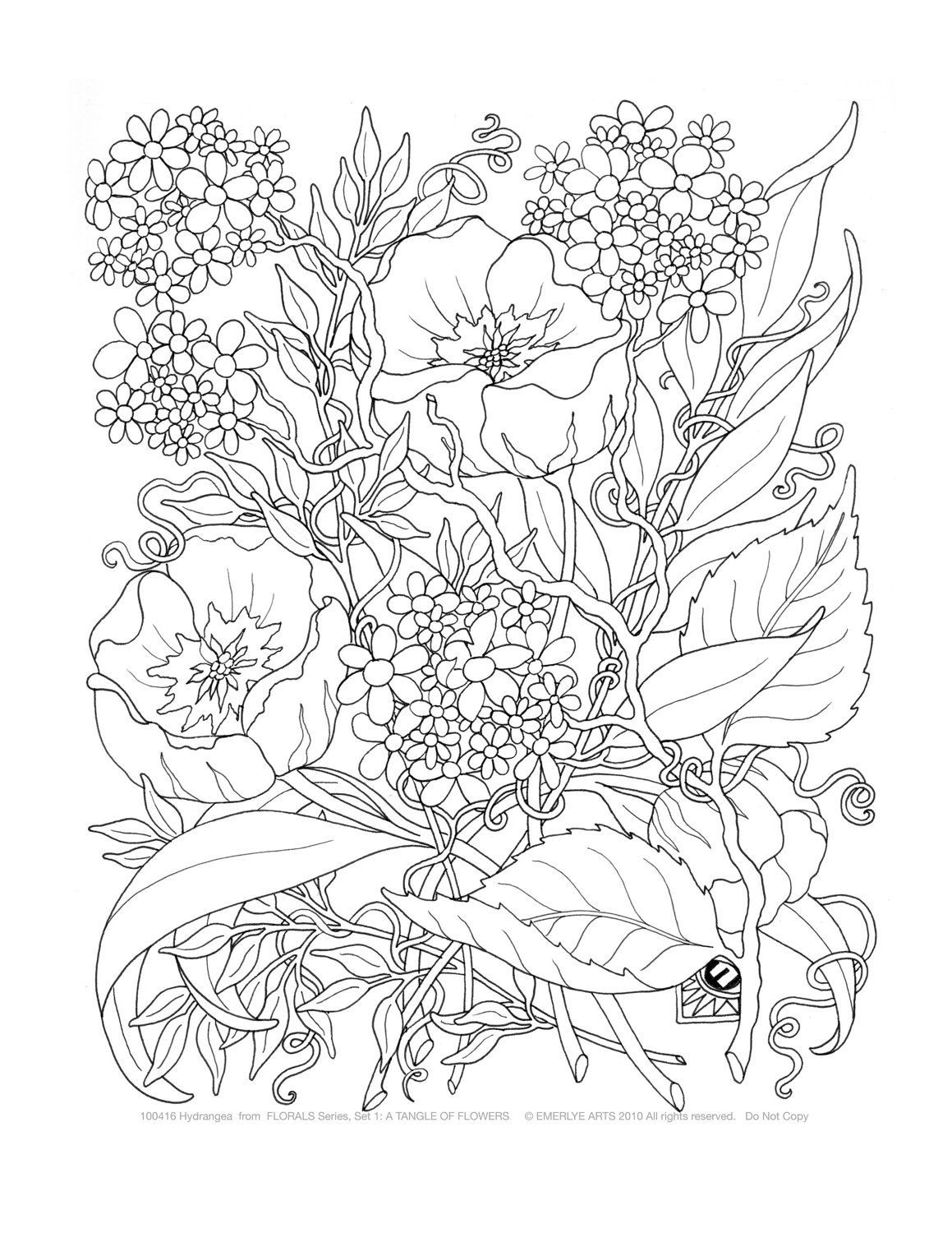 Difficult Flower Coloring Pages - Coloring Home