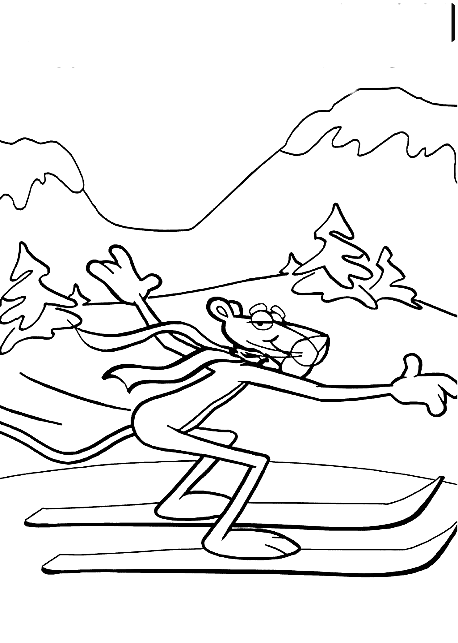 Coloring Pages Of Kids Skiing