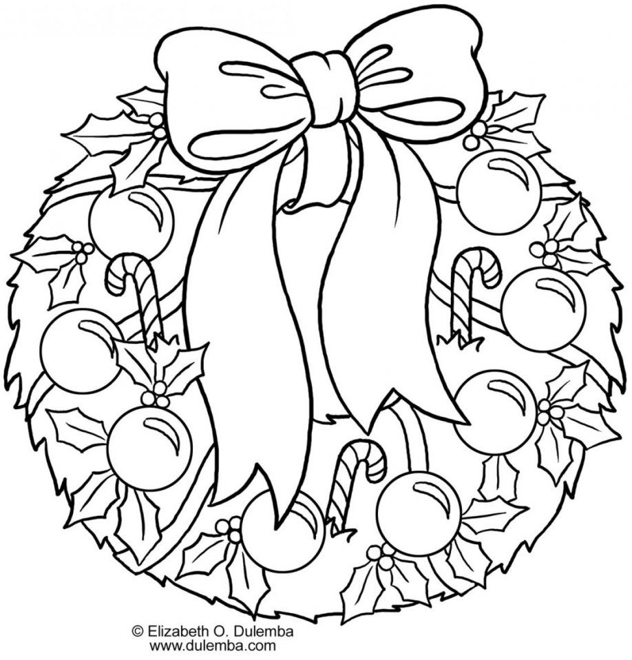 Wreath Coloring Page Christmas Wreath Coloring Page Shapes Coloring Home