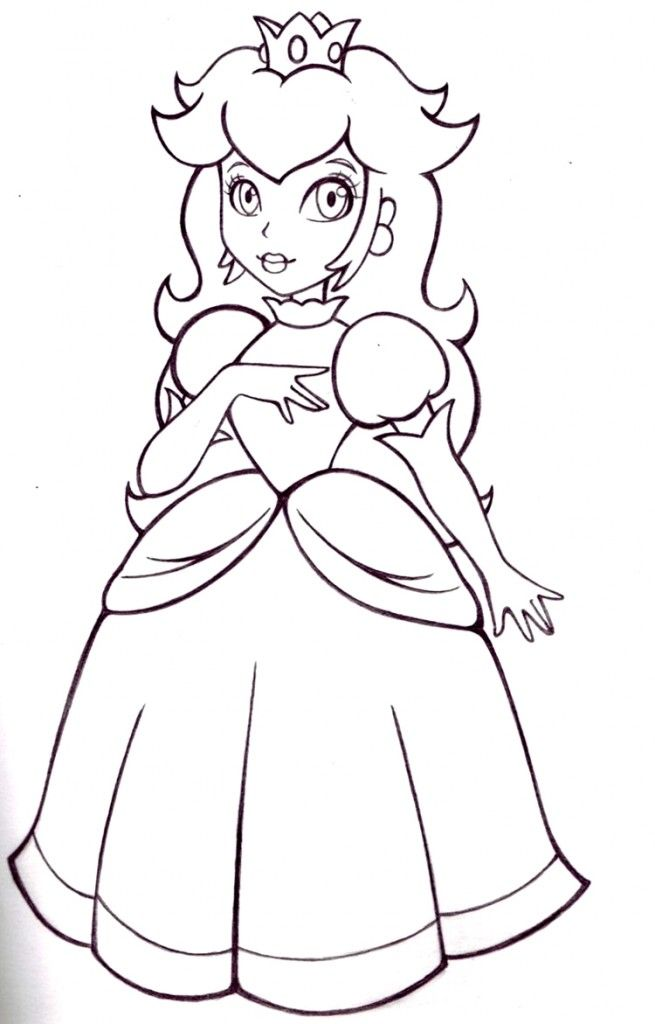 Princess Peach - Coloring Pages for Kids and for Adults