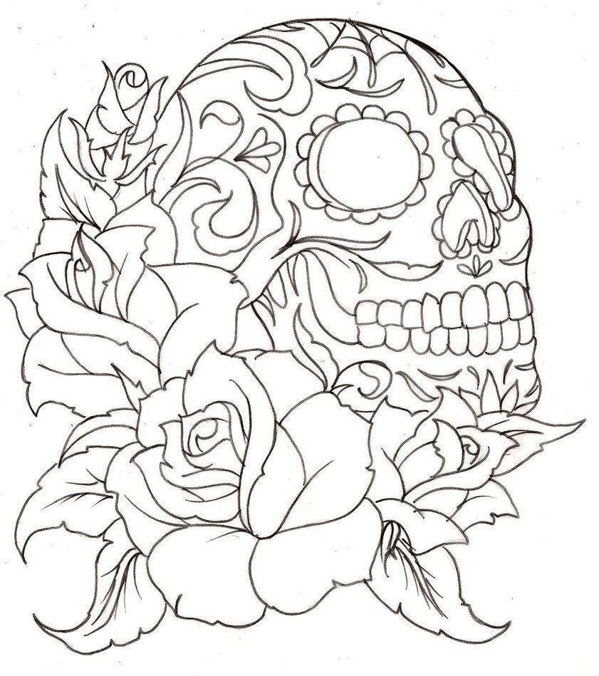 7 best images of free printable coloring pages skulls roses free - Rose Coloring Pages Teenagers