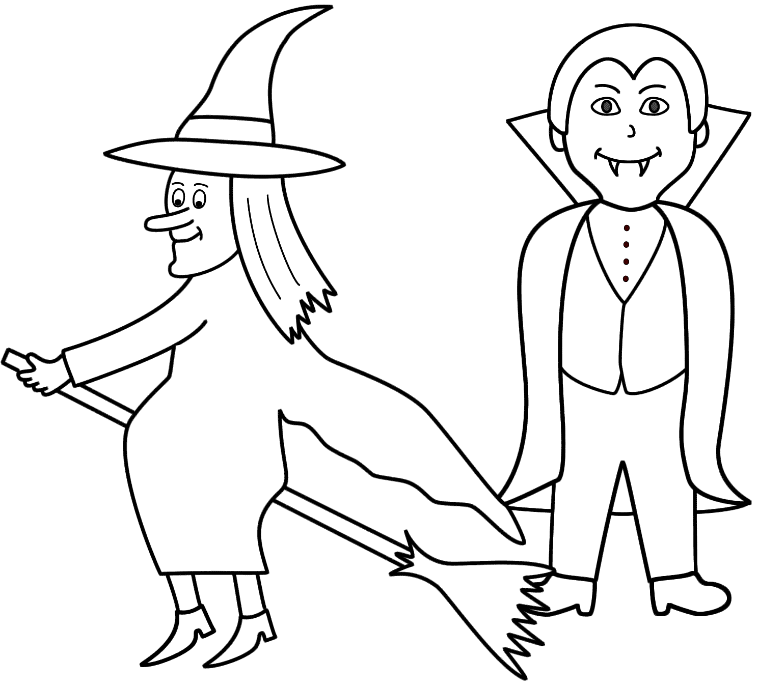 Witch With A Vampire Coloring Page Halloween Coloring Home