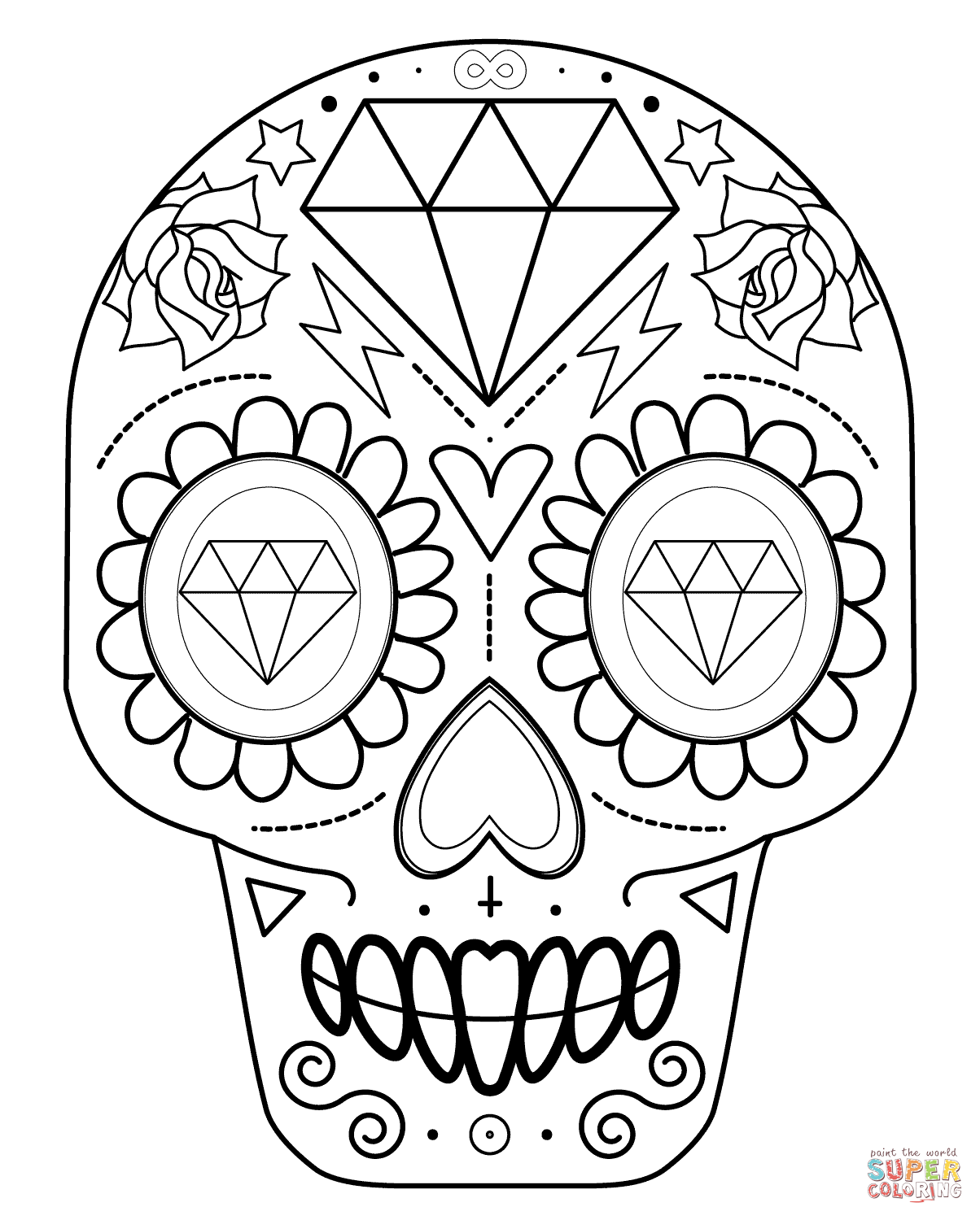 image relating to Sugar Skull Printable identify Sugar Skull With Diamonds Coloring Web site Absolutely free Printable