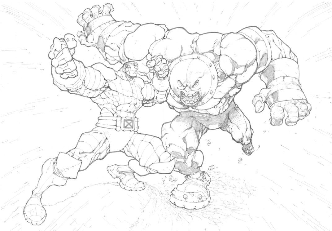 marvel colossus vs juggernaut sketch coloring page coloring home