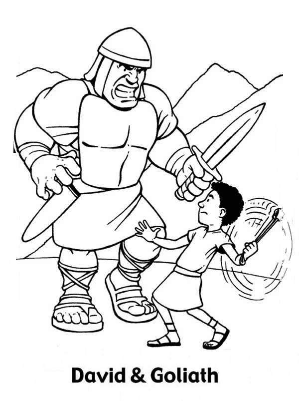 picture relating to David and Goliath Printable Story called David And Goliath Coloring Webpages Printables - Superior High-quality