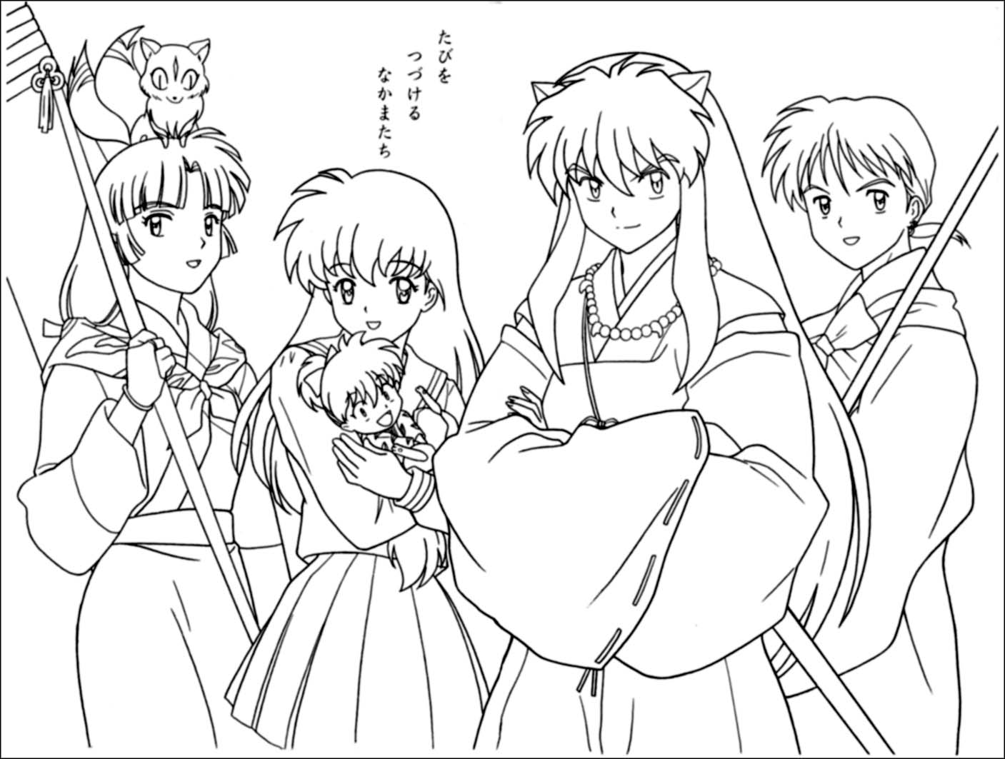 Anime Girls Group Coloring Page - Coloring Home