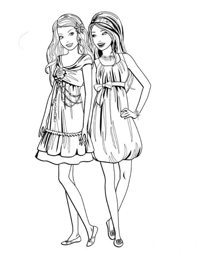 barbie and her friends coloring pages - coloring pages for all ... - Barbie Friends Coloring Pages