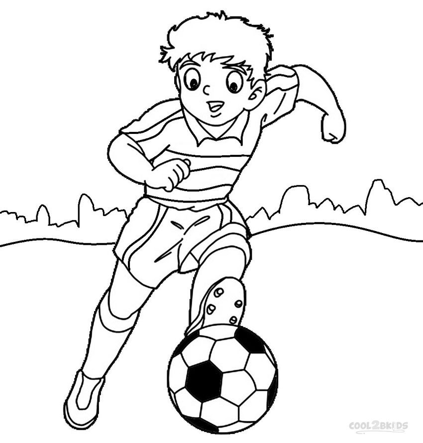 Coloring pages of kids playing sports coloring home for Soccer coloring pages for kids