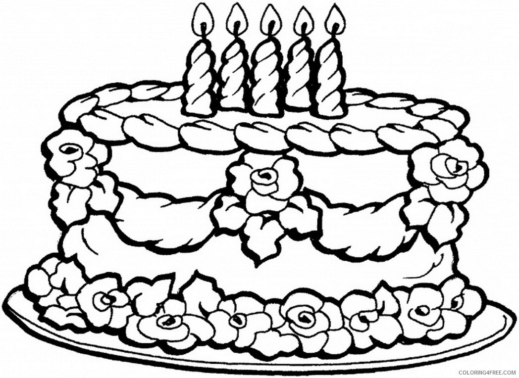 happy birthday cake coloring pages for girls Coloring4free -  Coloring4Free.com