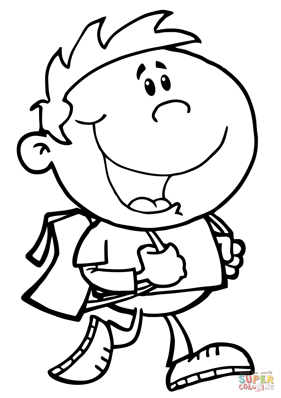 Walking School Boy coloring page | Free Printable Coloring Pages