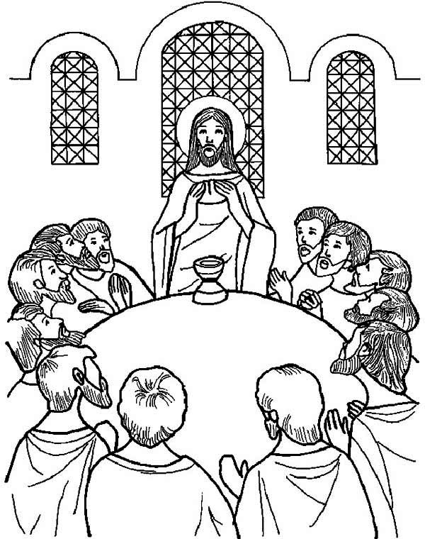 The Last Meal Jesus Share in the Last Supper Coloring Page: The ...