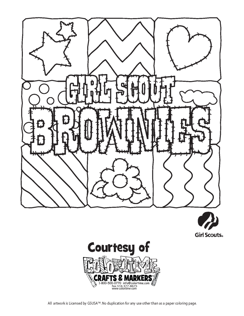 Brownie Girl Scout Coloring Page