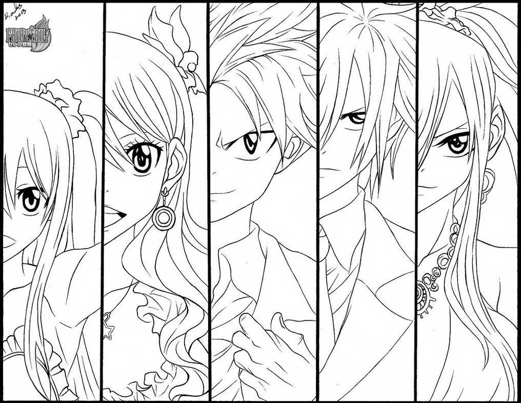 Fairy tail colouring pages high quality coloring pages - Black and white anime pictures ...
