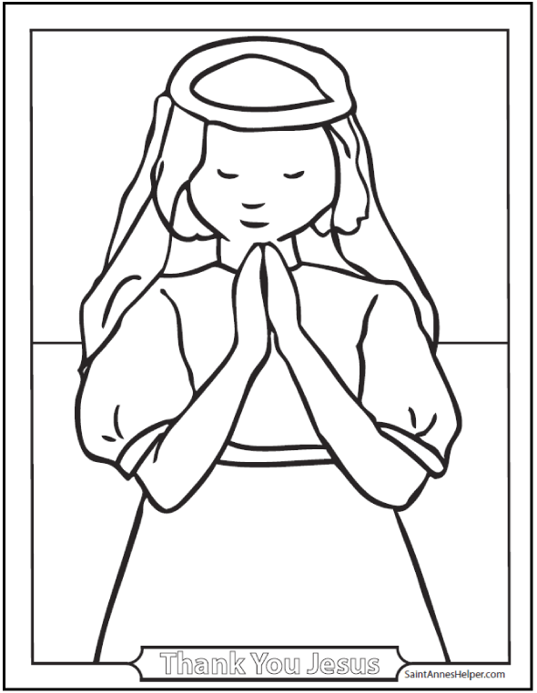 Girl praying coloring page coloring home for Communion for kids coloring pages