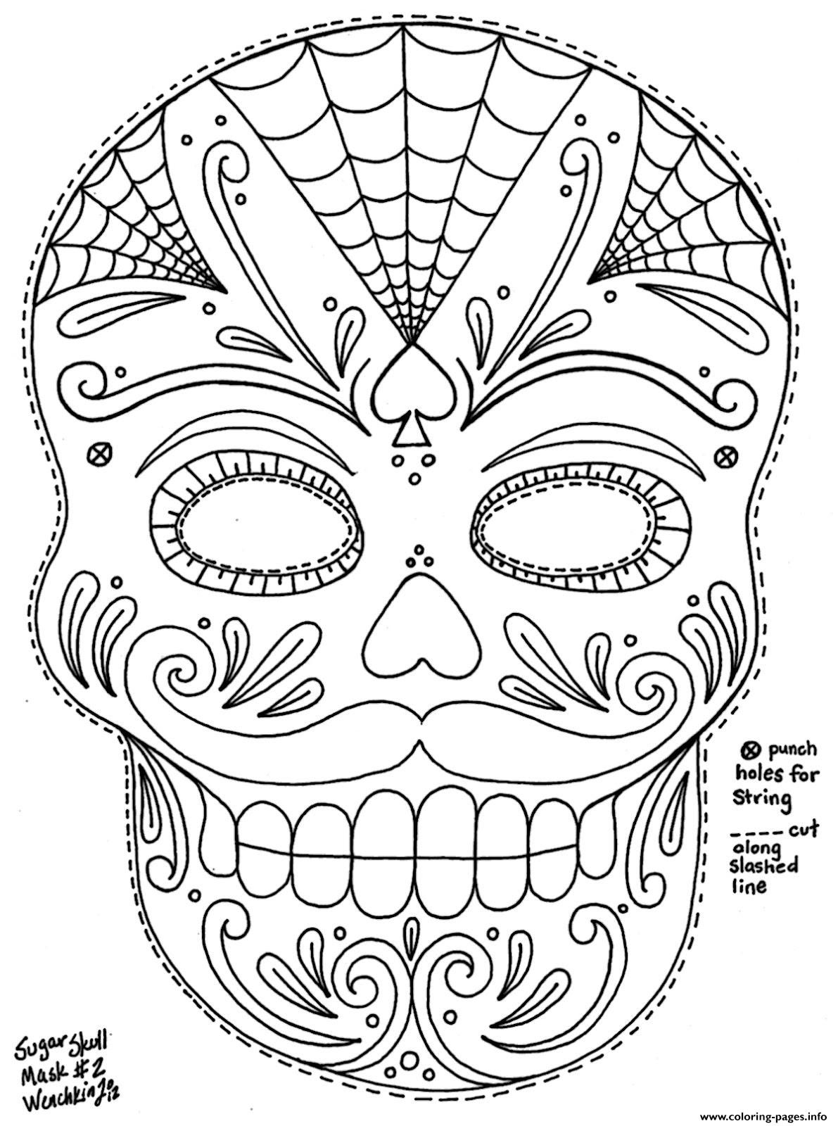 Sugar skull with roses coloring pages az coloring pages for Day of the dead skull mask template
