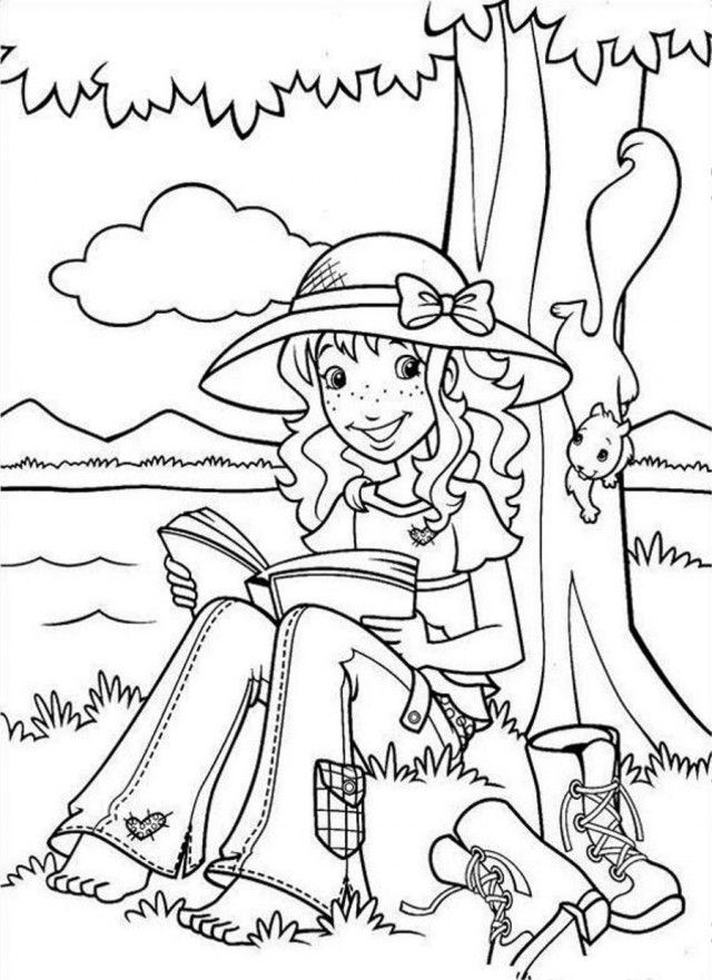 Holly Hobbie Reading Under Tree Coloring Page Coloringplus 192104