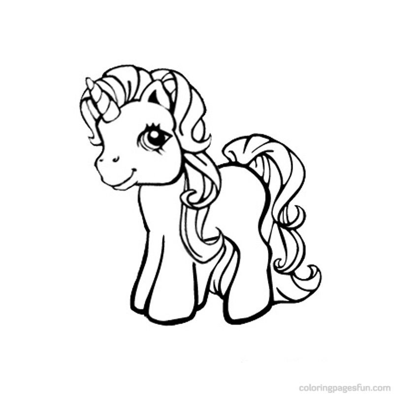 Cartoon Unicorn Coloring Pages Cute - Coloring Home