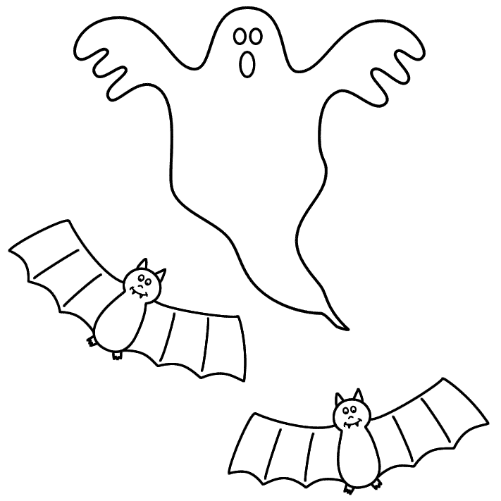 Ghost with bats - Coloring Page (