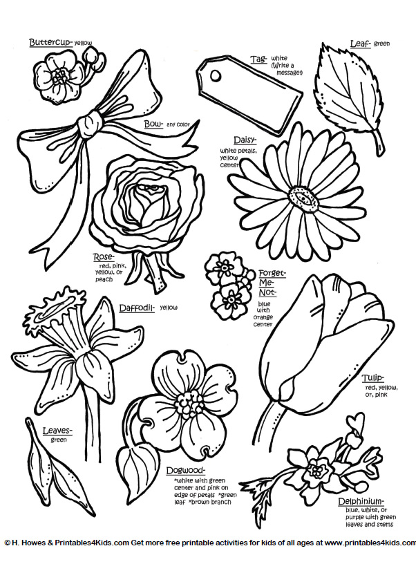 Flowers to color for kids az coloring pages Coloring book names