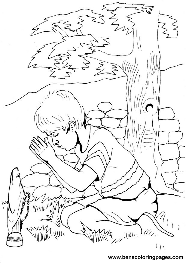 Boy praying coloring page az coloring pages for Praying boy coloring page