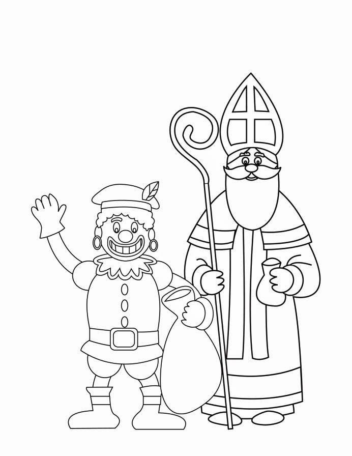 coloring page zwarte piet and st nicholas 2 img 16170