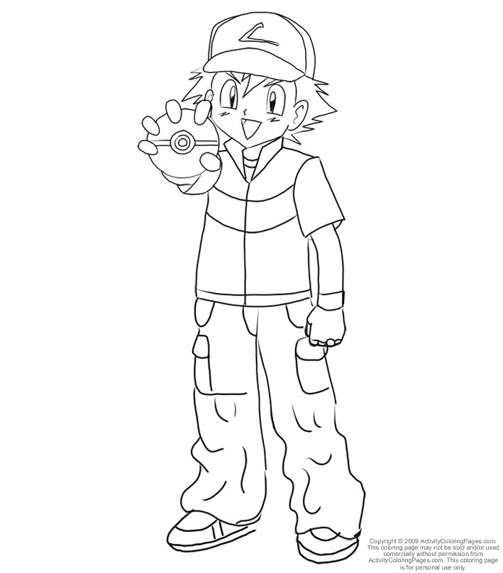 ash and pokemon coloring pages - photo#48