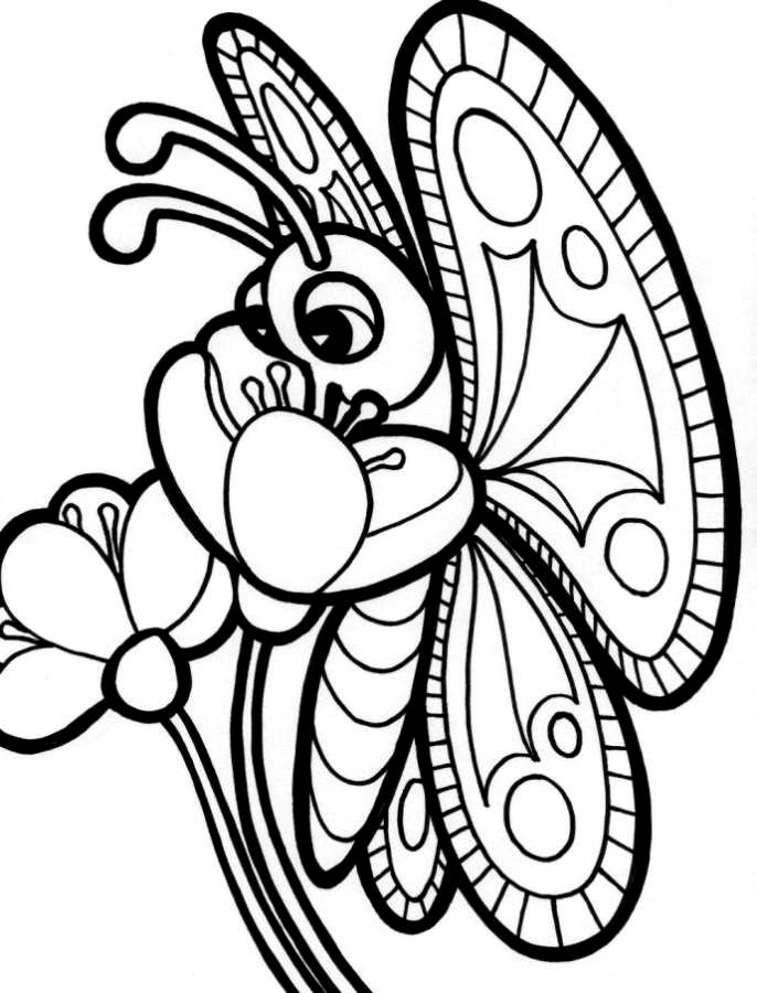 Butterfly On A Flower Coloring Pages : Coloring Pages Of Flowers And Butterflies Coloring Home