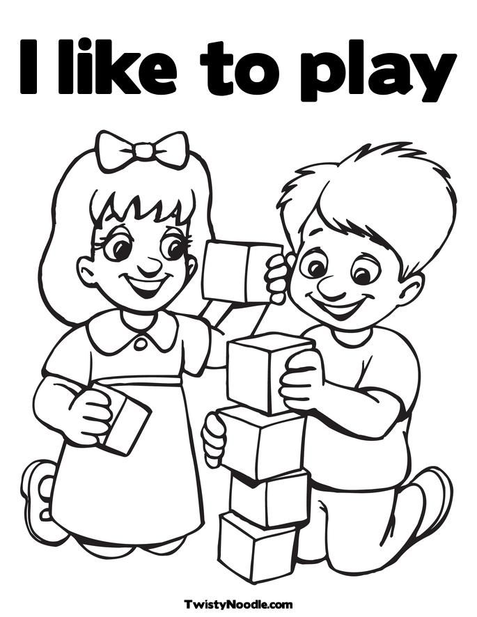 en playing in the park Colouring Pages