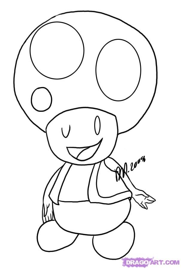 How to Draw Toad, Step by Step, Video Game Characters, Pop Culture