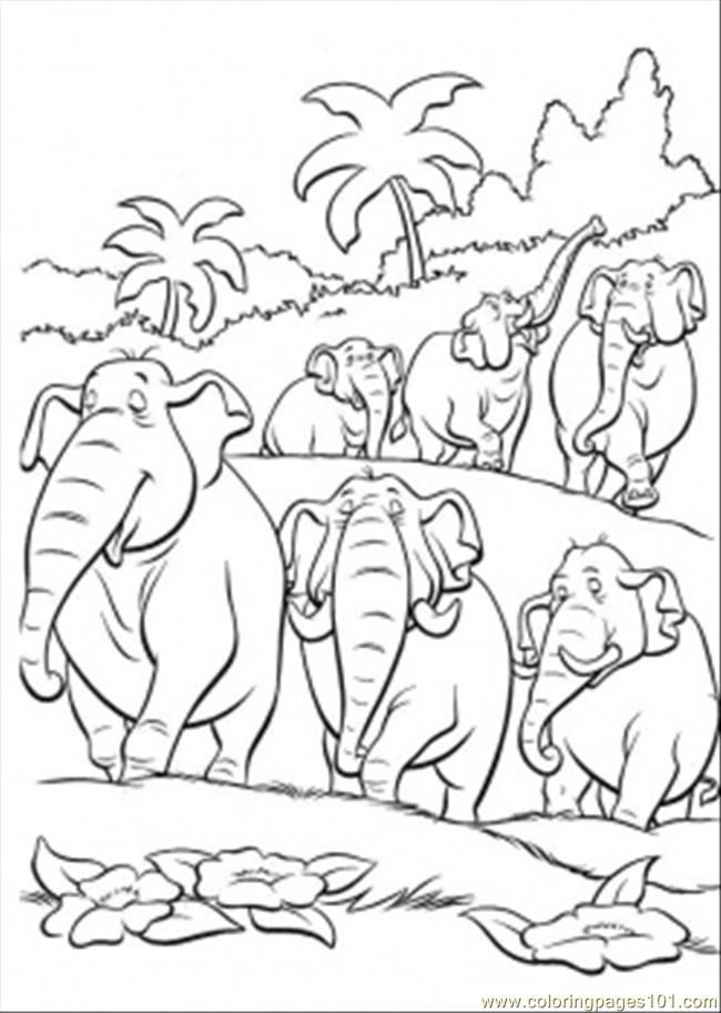 Coloring Pages Elephants In The Jungle (Natural World > Forest