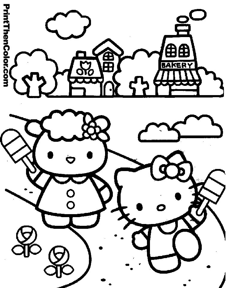 Hello kitty coloring pages kids az coloring pages for Hello kitty princess coloring page