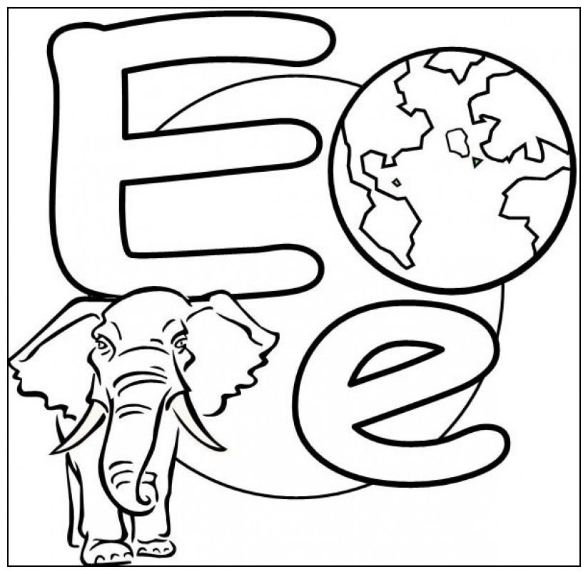 Letter E Is For Elephant And Globe Coloring Page - Kids Colouring ...