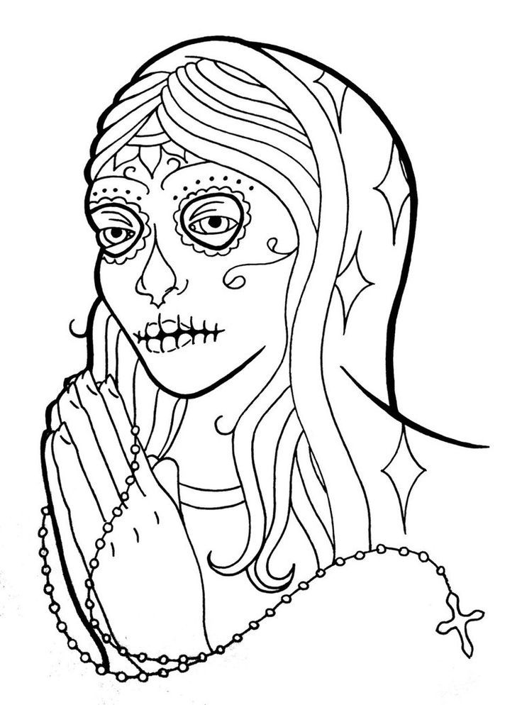 Colour Line Art Design : Sugar skull coloring pages home