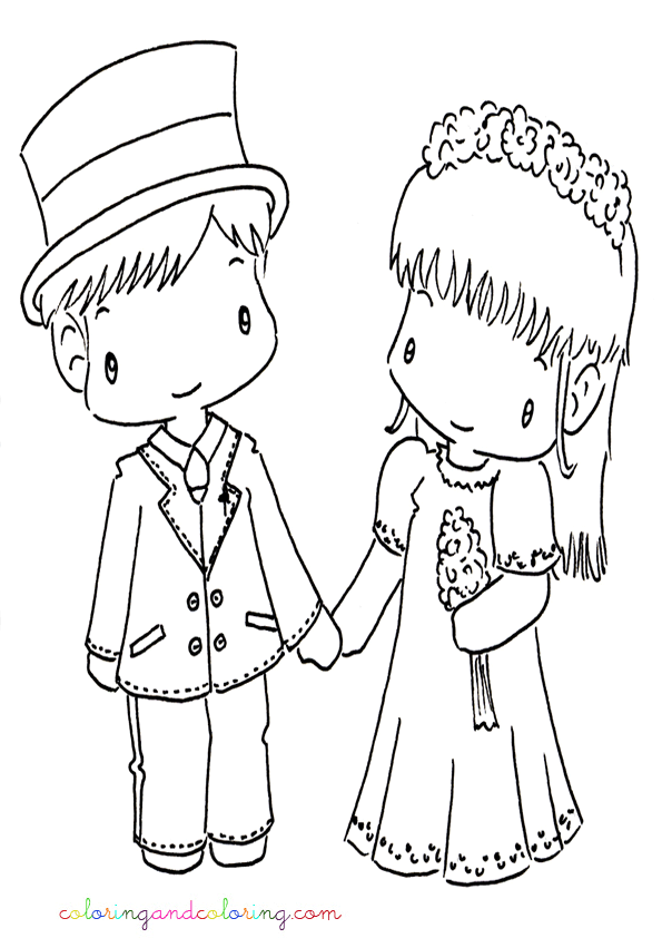Wedding Cartoon Coloring Pages - Coloring Home