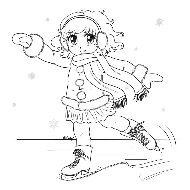 ice skater coloring pages print - photo#28