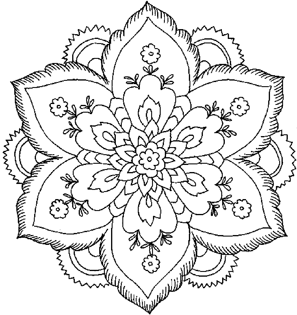 Flower coloring pages for adults coloring home for Coloring pages of a flower