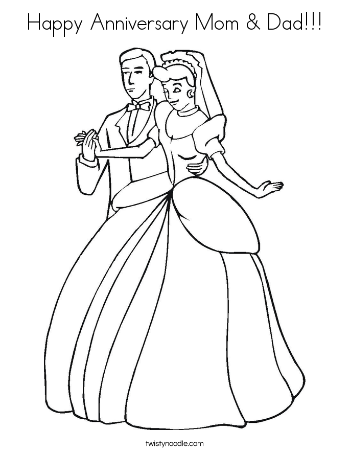 Happy Anniversary Mom & Dad Coloring Page - Twisty Noodle