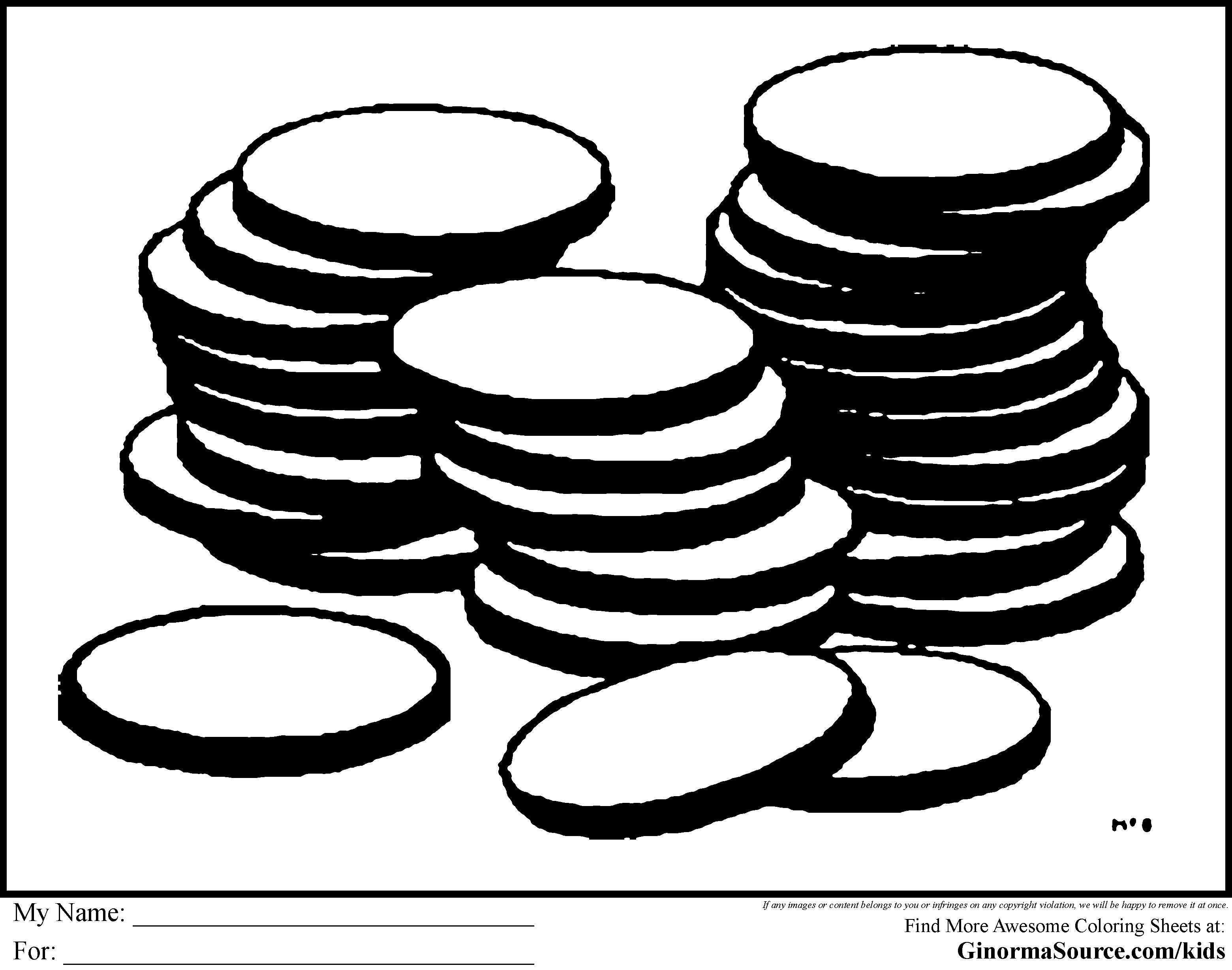Coins Coloring Page - Coloring Home