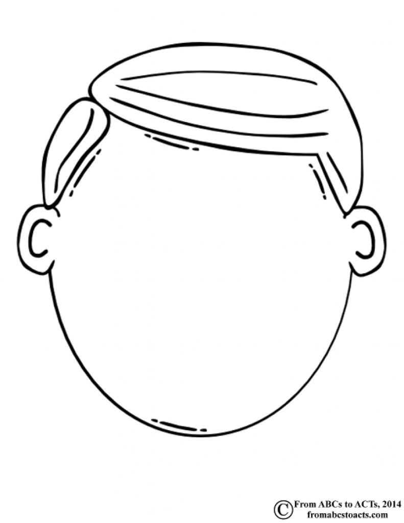 Blank Face Coloring Page on Cutting Skills Printables
