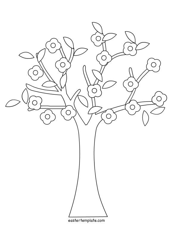 Spring Tree Coloring Pages Printable Easter Template Tree Coloring Page Template